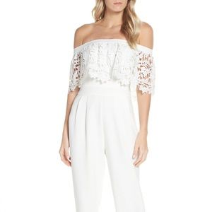 Eliza J White Lace Jumpsuit